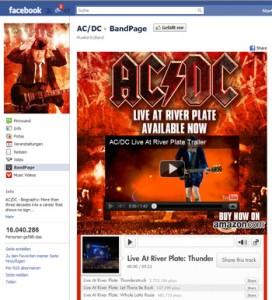 Der AC/DC Facebook Auftritt
