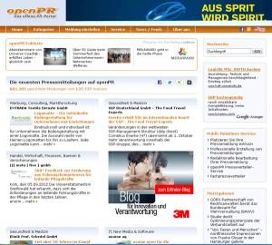 freie Onlinepresseportale: openPR Homepage
